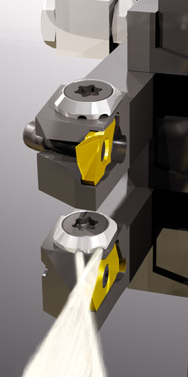 WhiHip toolholders with through coolant in sliding head lathe